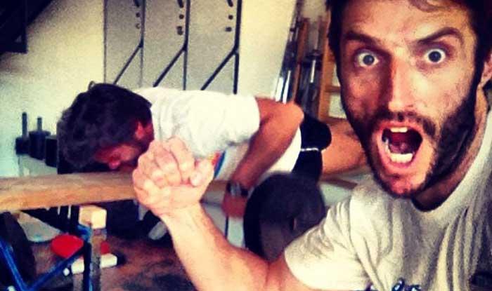 """Una tipica sessione di allenamento da """"spaccati"""" di Gigi Ganino (a sinistra) e Mario Palmisano (a destra)"""