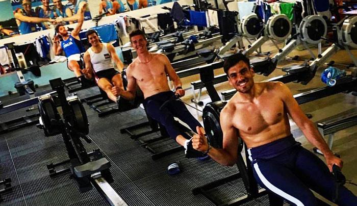 Il 4 senza campione del mondo. Da sinistra: Marco Di Costanzo, Matteo Castaldo, Matteo Lodo e Giuseppe Vicino