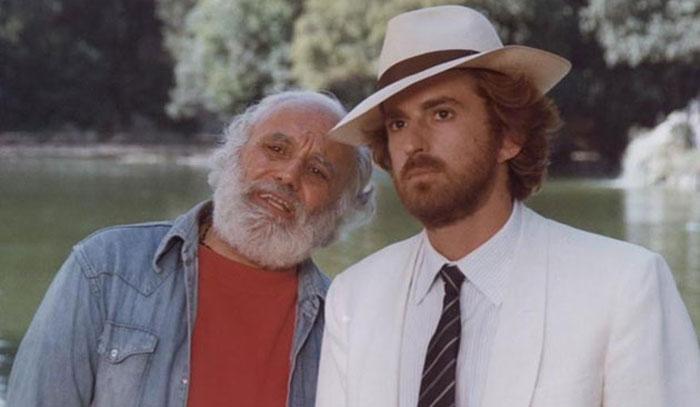 L'attore Remo Remotti (a sinistra) sul set di Bianca insieme a Nanni Moretti (a destra)