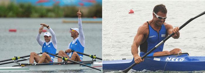 I canottieri Romano Battisti e Alessio Sartori (a sinistra). Il canoista Antonio Rossi (a destra)