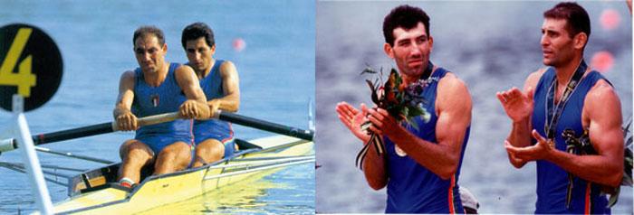 Nella foto a sinistra, Giuseppe e Carmine Abbagnale alle Olimpiadi di Seul del 1988. A destra, invece, Agostino Abbagnale e Davide Tizzano trionfano ad Atlanta nel 1996