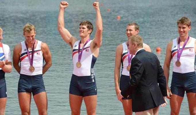 L'atleta americano Henrik Rummel è molto felice di aver conquistato il bronzo nel 4 di coppia a Londra 2012