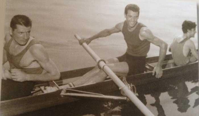 Primo Baran (a sinistra), Renzo Sambo (al centro) e Bruno Cipolla (a destra). Foto tratta dal volume Centovent'anni in voga