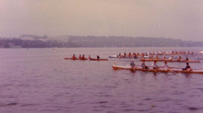 Partenza degli equipaggi sul lago di Ginevra
