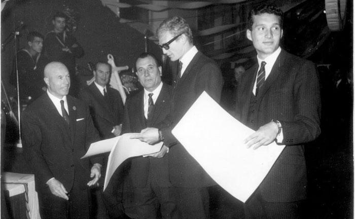 Da sinistra: l'allora segretario generale della Federazione Enrico Chiaperotti, Rino Galeazzi, Giuliano Spingardi e Gianpiero Galeazzi
